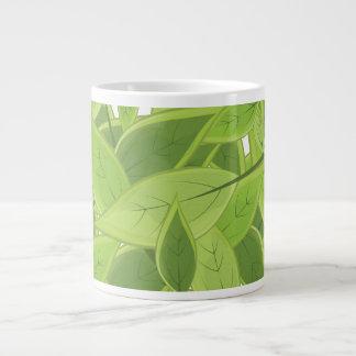 Green Leafs Pattern Large Coffee Mug