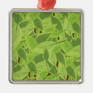 Green Leafs Pattern Metal Ornament