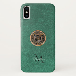 Green Leather Bronze Celtic Triskele Knot Monogram iPhone X Case