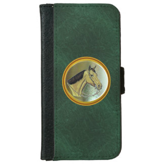 Green Leather Horse Design Wallet Case