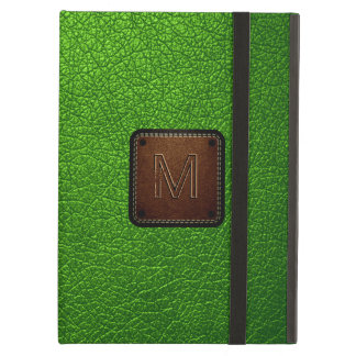 Green leather look brown tag cover for iPad air