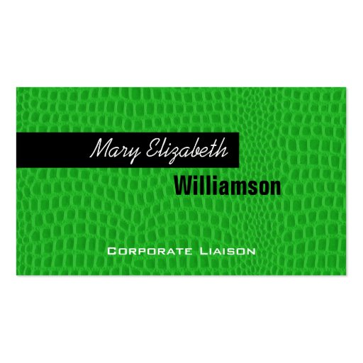 Green Leather Modern Professional Business Cards