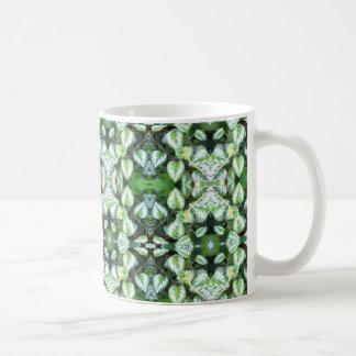 Green Leaves Abstract Coffee Mug |  Kaleidoscope