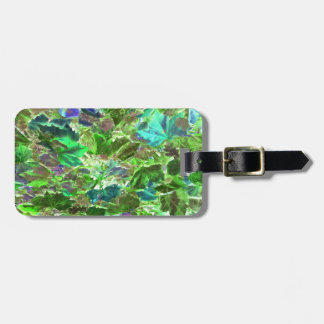 Green Leaves Abstract Pattern Luggage Tag