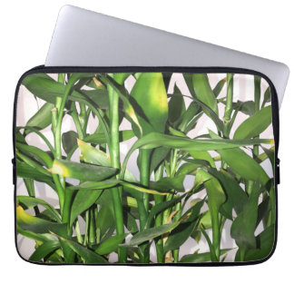 Green leaves and bamboo shoots house plant laptop sleeve