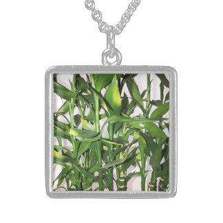 Green leaves and bamboo shoots house plant sterling silver necklace