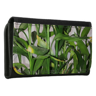Green leaves and bamboo shoots house plant women's wallet