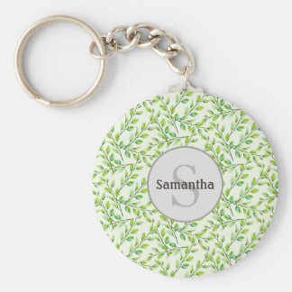 Green Leaves and Branches Monogram Keychain