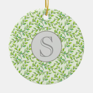 Green Leaves and Branches Monogram Ornament