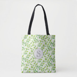 Green Leaves and Branches Monogram Tote Bag