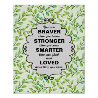 Green Leaves and Branches Words of  Encouragement Poster
