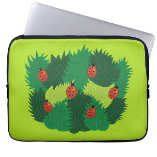 Green Leaves And Ladybugs In Spring Time Laptop Sleeve