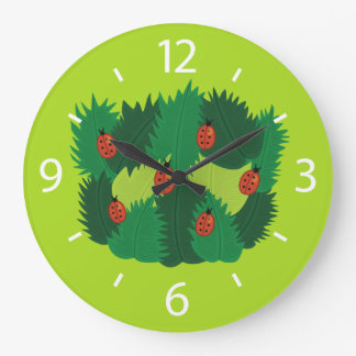 Green Leaves And Ladybugs Spring Time Large Clock