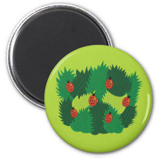 Green Leaves And Ladybugs Spring Time Magnet