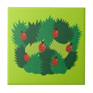 Green Leaves And Ladybugs Spring Time Small Square Tile