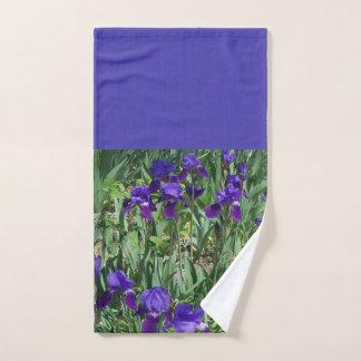 Green Leaves and Purple Irises Bathroom Hand Towel