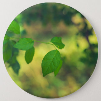 Green leaves and yellow bokeh 6 cm round badge