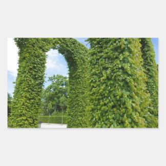 Green leaves arches rectangular sticker