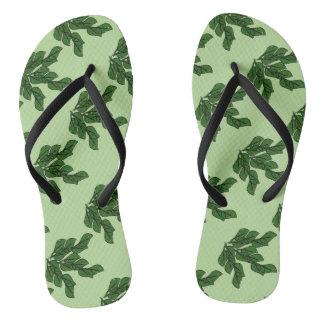 Green leaves artwork in a pattern light green B/G Thongs