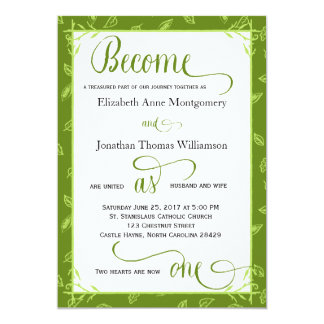 Green Leaves Become as One Christian Wedding Card