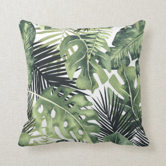 Green Leaves Botanical Tropical Plants Summer Chic Cushion