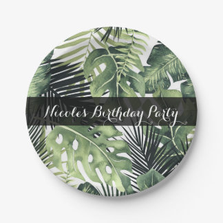 Green Leaves Botanical Tropical Plants Wedding Paper Plate