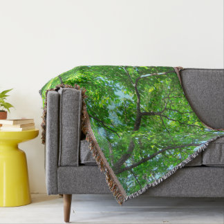 Green Leaves, Branches and Blue Sky Throw Blanket