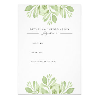 Green Leaves Duo | Watercolor Information Card