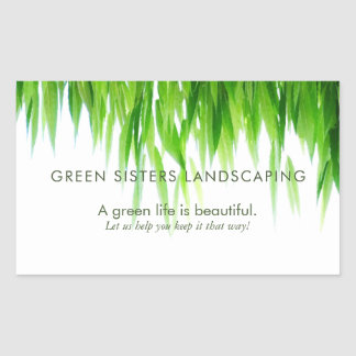 Green Leaves Earth Friendly Design Rectangular Sticker