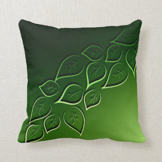 green leaves elegant modern throw pillow