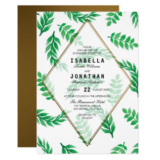 Green Leaves | Gold Floral Engagement Party Card