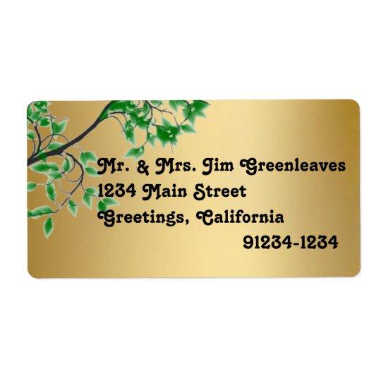 Green Leaves Gold Foil Look Return Address Labels