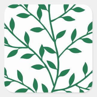 Green leaves green olive branch leaf decor square sticker