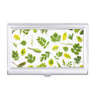 Green Leaves Isolated on White Background Business Card Holder