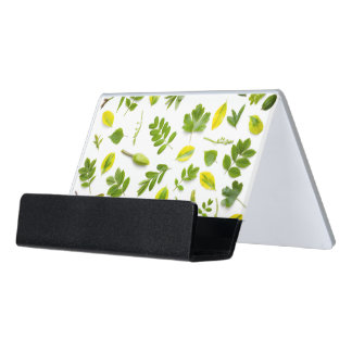 Green Leaves Isolated on White Background Desk Business Card Holder