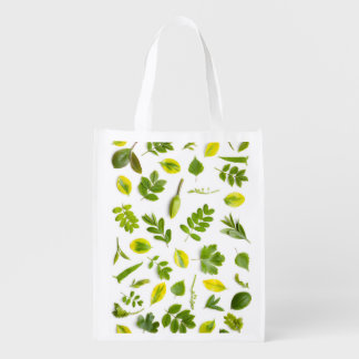 Green Leaves Isolated on White Background Reusable Grocery Bag