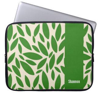 Green leaves Monogram Laptop Sleeve
