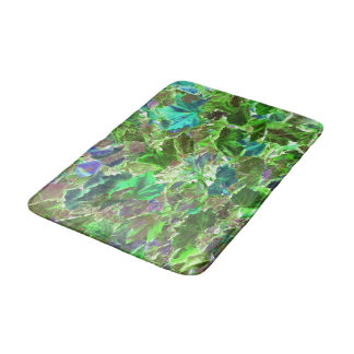Green Leaves Nature Pattern Bath Mat
