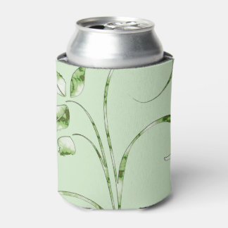 Green Leaves on Mint Green Can Cooler
