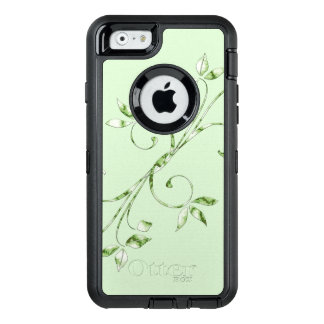 Green Leaves on Mint Green OtterBox Defender iPhone Case