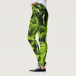 Green Leaves Printed Leggings