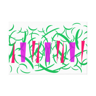 Green Leaves Red Chili Purple Pattern Print Canvas