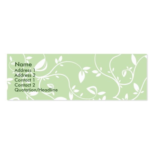 Green Leaves - Skinny Business Cards