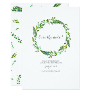 Green leaves watercolor wedding save the date card