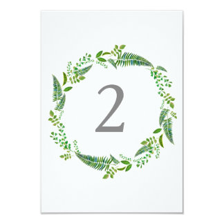 Green leaves watercolor wedding table number