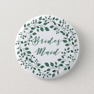 Green leaves watercolor wreath | Bridesmaid 6 Cm Round Badge