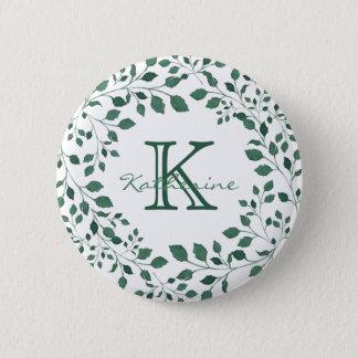 Green leaves watercolor wreath | Monogram 6 Cm Round Badge