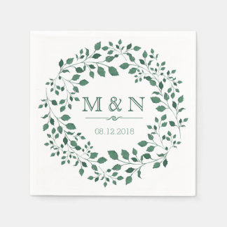 Green leaves watercolor wreath | Monogram Wedding Disposable Napkin