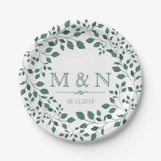 Green leaves watercolor wreath | Monogram Wedding Paper Plate