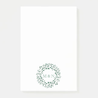 Green leaves watercolor wreath | Monogram Wedding Post-it Notes